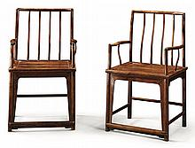 A PAIR OF 'HUANGHUALI' AND HARDWOOD SPINDLEBACK CHAIRS<BR>20TH CENTURY |