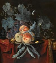 WILLEM VAN AELST | Still life with peaches and grapes on a pewter plate, with a walnut, and a glass roemer, all on a draped table