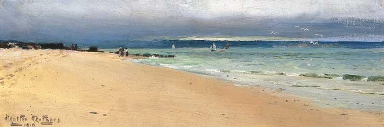 WALTER WITHERS 1854-1914 BEACH SCENE AT COWES, PHILIP ISLAND