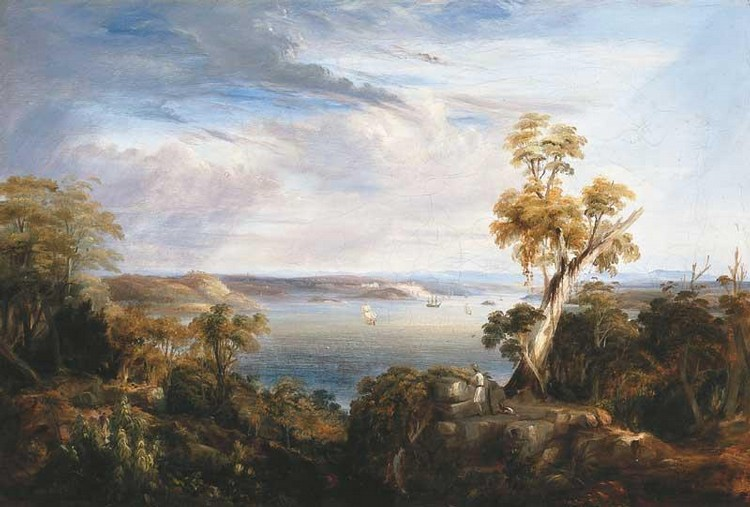 CONRAD MARTENS 1801-1878 SYDNEY HARBOUR FROM VAUCLUSE