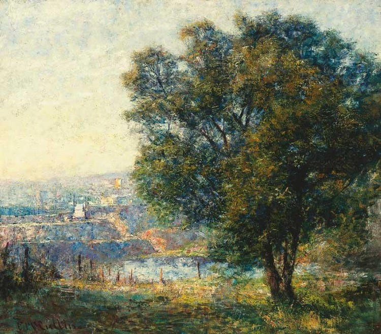FREDERICK MCCUBBIN 1855-1917 YARRA RIVER FROM KENSINGTON ROAD, SOUTH YARRA