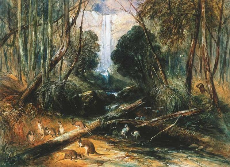 JOHN SKINNER PROUT 1805-1876 ABORIGINE STALKING - WILLOUGHBY FALLS, NEW SOUTH WALES