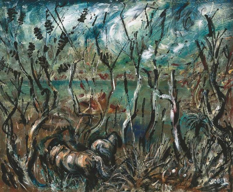 WILLIAM DOBELL 1899-1970 HORSES IN LANDSCAPE