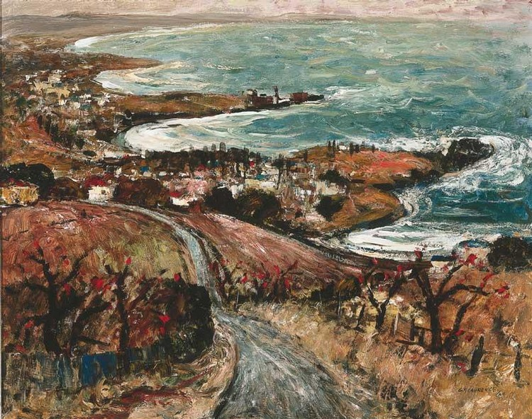 GEORGE FEATHER LAWRENCE 1901-1981 COASTLINE FROM SADDLEBACK