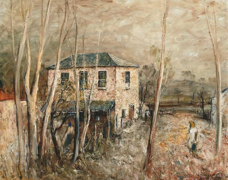 GEORGE FEATHER LAWRENCE 1901-1981 OLD HOUSE THROUGH SAPLINGS