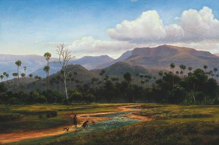 EUGENE VON GUERARD 1811-1901 MOUNTAIN SCENERY NEAR JAMBEROO, NEW SOUTH WALES