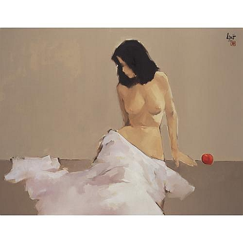 e - Nguyen Thanh Binh B. 1954 , Sitting Nude With Apple