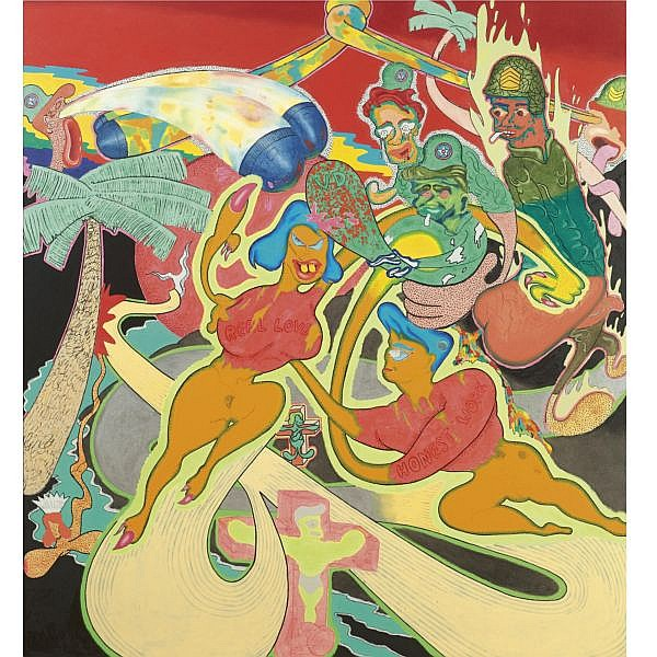 Peter Saul , b. 1934 Untitled acrylic, oil and metallic paint on canvas