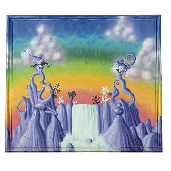 l - Kenny Scharf , b. 1958 Agua Pollination oil and enamel on canvas in artist's frame