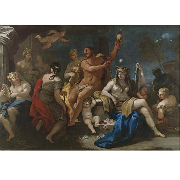 s - Luca Giordano, called Fa Presto , Naples 1634 - 1705 Hercules and Omphale oil on canvas