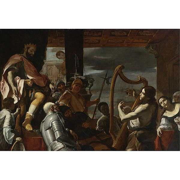 Mattia Preti , Taverna 1613-1699 Malta David Playing the Harp Before Saul oil on canvas