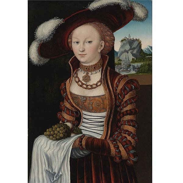 Lucas Cranach the Elder , Kronach 1472 - 1553 Weimar Portrait of a Young Lady Holding Grapes and Apples oil on panel transferred to canvas