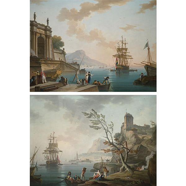 Charles-François Grenier de Lacroix, called Lacroix de Marseille , Marseille circa 1700 - 1782 Berlin Morning: A view of a mediterranean port at sunrise with figures gathered on the nearside quay; Evening: A view of a mediterranean port at dusk, with