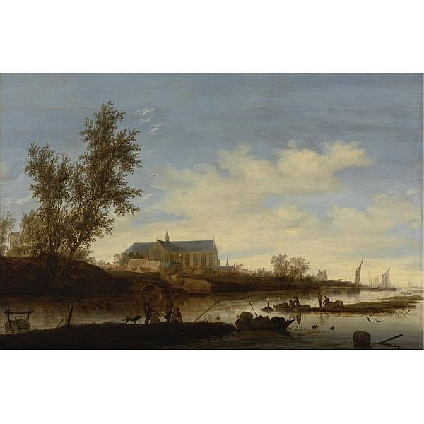 Salomon van Ruysdael , Naarden 1600/3 - 1670 Haarlem A View of Alkmaar with the Sint Laurenskerk from the North oil on panel