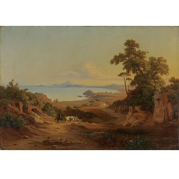 Johannes Jakob Frey , Basle 1813 - 1865 Frascati View of the gulf of Pozzuoli with peasants and animals oil on canvas