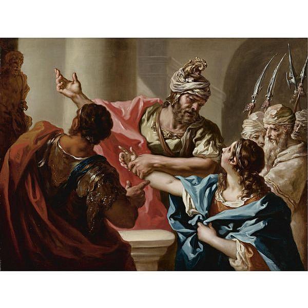 Giovanni Antonio Pellegrini , Venice 1675 - 1741 Young hannibal swears enmity to Rome oil on canvas