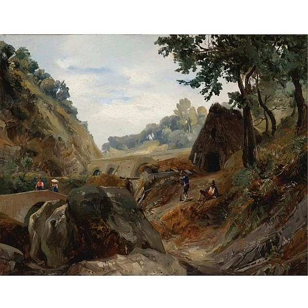 Augustin Enfantin , Belleville 1793 - 1827 Naples View of a Valley near Gragano oil on paper, laid down on canvas