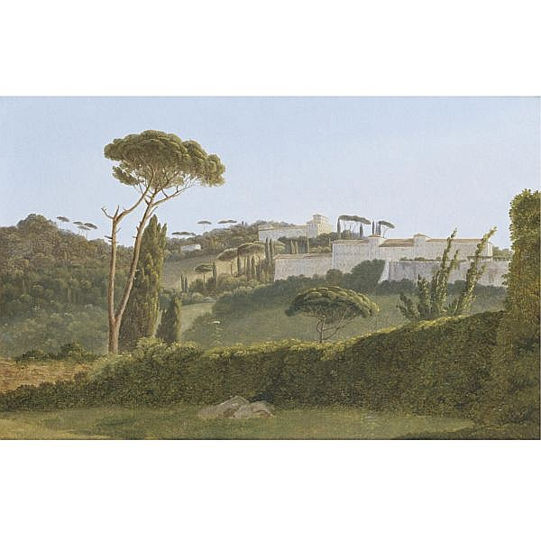 Pierre-Athanase Chauvin , Paris 1774 - 1832 Rome A view of the pines of the Villa Borghese from the back of the Villa Medicis oil on canvas