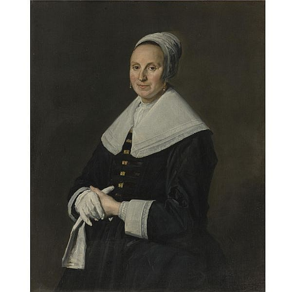 Frans Hals , Antwerp 1581/5 - 1666 Haarlem Portrait of a Woman with Gloves oil on canvas