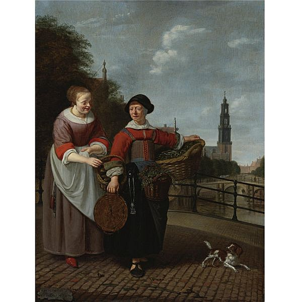Michiel van Musscher , Rotterdam 1645 - 1705 Amsterdam A Maid and a Female Merchant at the Eenhoornsluis in Amsterdam oil on panel
