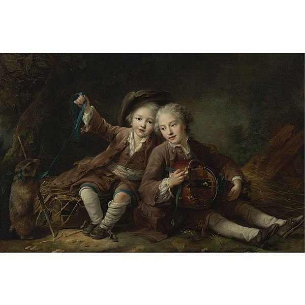 François Hubert Drouais , Paris 1727-1775 The Children of the Duc de Bouillon Dressed as Montagnards; One Playing a Hurdy-Gurdy, the Other Playing with a Marmot on a Ribbon oil on canvas