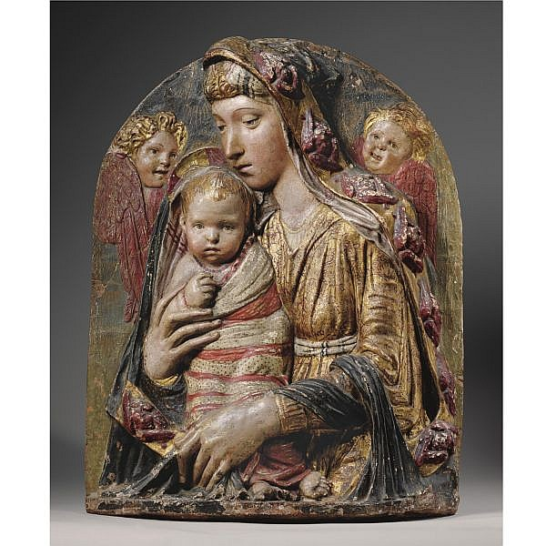 A Highly Important Gilt and Painted Terracotta Relief of the Virgin and Child, by Donato di Betto Bardi, called Donatello (circa 1386-1466)
