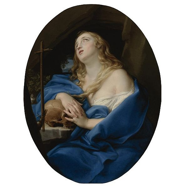Pompeo Batoni , Lucca 1708 - 1787 Rome The Penitent Magdalene oil on canvas, a painted oval