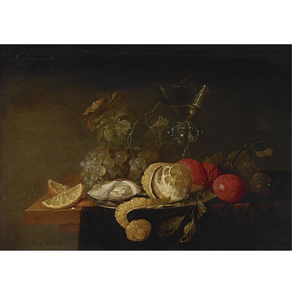 Jan Davidsz. De Heem , Utrecht 1606 - 1683/4 Antwerp Still Life with a Peeled Lemon, Orange Slices, an Oyster, Plums, Grapes and a façon-de-Venise Glass filled with white wine displayed on a partially draped table oil on panel