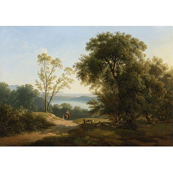 Martin Verstappen , 1773 - 1853 View of Lake Albano oil on canvas