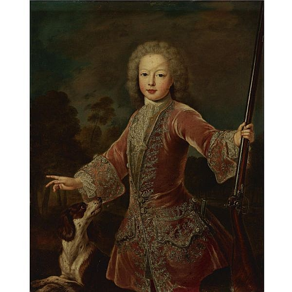 Pierre Gobert , Fontainebleau 1662 - 1744 Paris Portrait of a Young Boy in a Hunting Jacket Holding a Musket oil on canvas