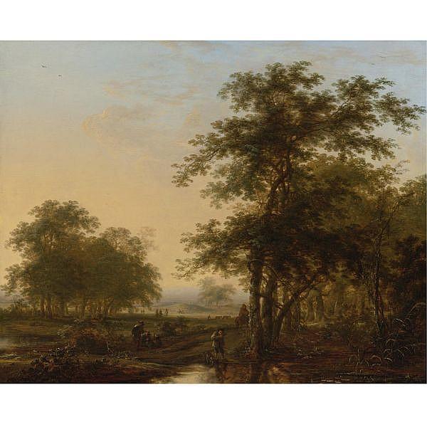 Herman Saftleven , Rotterdam 1609 - 1685 Utrecht Landscape with Travelers oil on panel