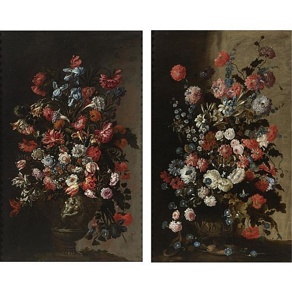 Mario Nuzzi, called Mario de' Fiori (Penna in Teverina 1603 - 1673 Rome) and Roman School, 17th Century , Still life of tulips, irises, poppies and other flowers in a sculpted vase; still life of roses, lilies, poppies, morning glories and other