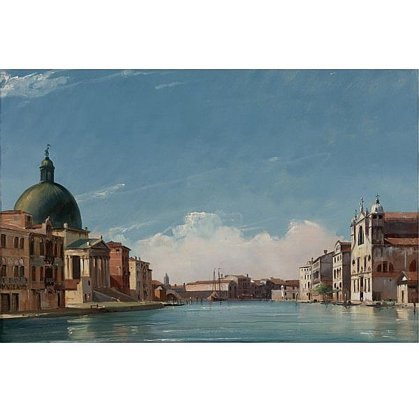 Jules-Romain Joyant , Paris 1803 - 1854 View of the Grand Canal, Venice, looking Southwest oil on canvas
