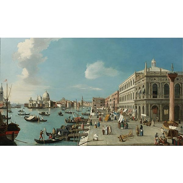 William James , active 1730-1780 The Molo, Venice: Looking West towards the Dogana and Santa Maria della Salute, the Biblioteca Marciana right oil on canvas