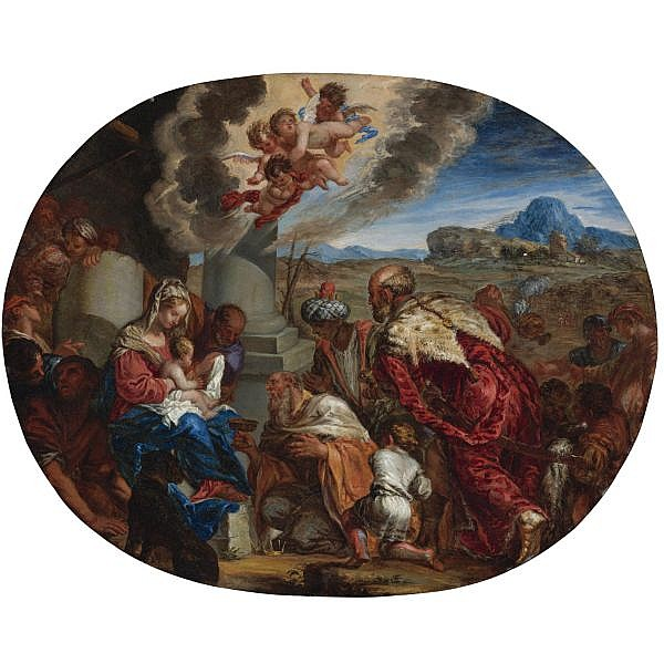 Giacomo Cotta , Gorlogo 1627 - Bergamo 1689 The Adoration of the Magi oil on copper