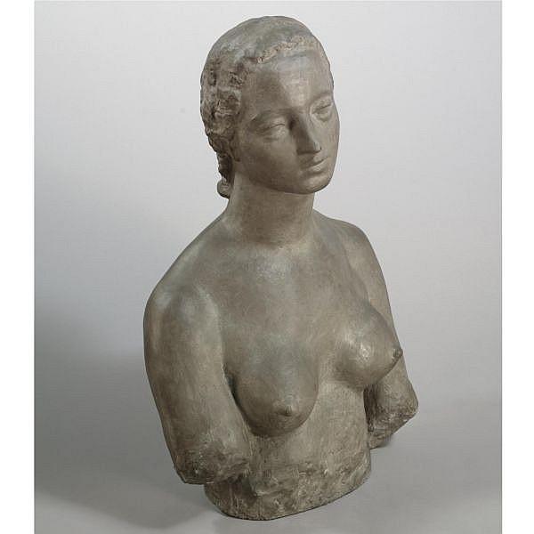 l - Wilhelm Lehmbruck , 1881-1919 FRAUENBÜSTE (BÜSTE FRAU L.) (BUST OF A WOMAN, BUST FRAU L.) cast stone