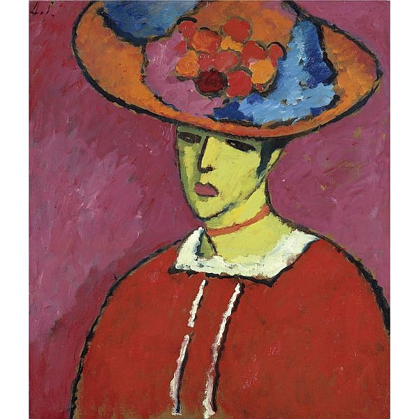 f,l - Alexej von Jawlensky , 1864-1941 SCHOKKO (SCHOKKO MIT TELLERHUT) SCHOKKO (SCHOKKO WITH WIDE-BRIMMED HAT) oil on board laid down on canvas