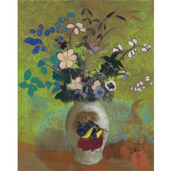 f - Odilon Redon , 1840-1916 VASE AU GUERRIER JAPONAIS pastel and traces of crayon on paper laid down on board
