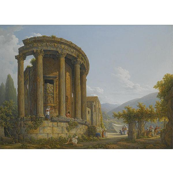 Abraham-Louis-Rodolphe Ducros , Moudon 1748 - 1810 Lausanne Tivoli, a view of the temple of the Sibyl oil on canvas, unlined