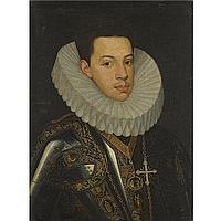 Juan Pantoja de la Cruz , Madrid 1551 - 1608 Portrait of Prince Felipe Emmanuele (1586-1605) of Savoy, half length, wearing the badges of the orders of the Annunziata and St. Mauricius and Lazarus oil on canvas