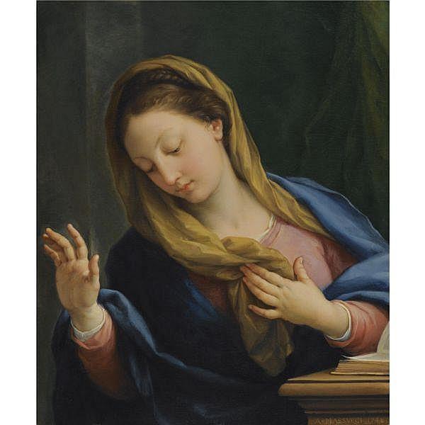- Agostino Masucci , Rome 1690 - 1768   the virgin annunciate   oil on canvas, in an 18th-century Italian frame