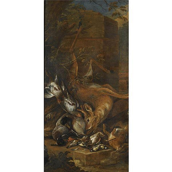 - Adriaen de Gryef , Antwerp 1670 - 1715 Brussels   Still life of a dead roebuck and other game; Still life of a dead hare and other game with hunting dogs a pair, each oil on canvas