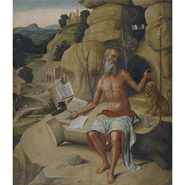 Workshop of Marco Palmezzano , Forlì circa 1460-1539 Saint jerome, seated on a rock before an extensive landscape oil on panel