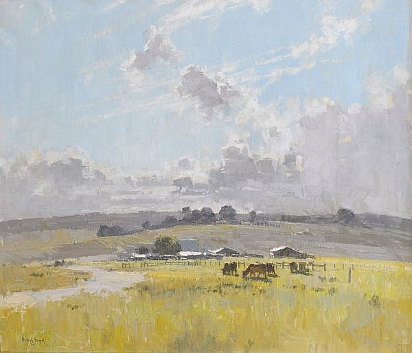 PENLEIGH BOYD , Australian 1890 - 1923 LANDSCAPE WITH CATTLE AND FARM BUILDINGS Oil on canvas