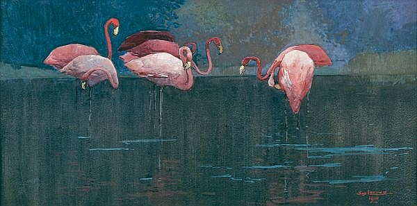 SYDNEY LONG , Australian 1871-1955 FLAMINGOES Watercolour and gouache on paper
