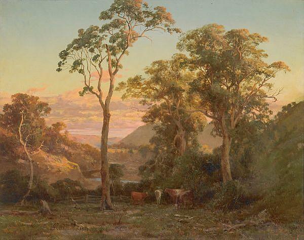 ABRAHAM-LOUIS BUVELOT , (1814-1888) NEAR BACCHUSMARSH [sic]. SUNSET ON THE WERRIBEE Oil on canvas