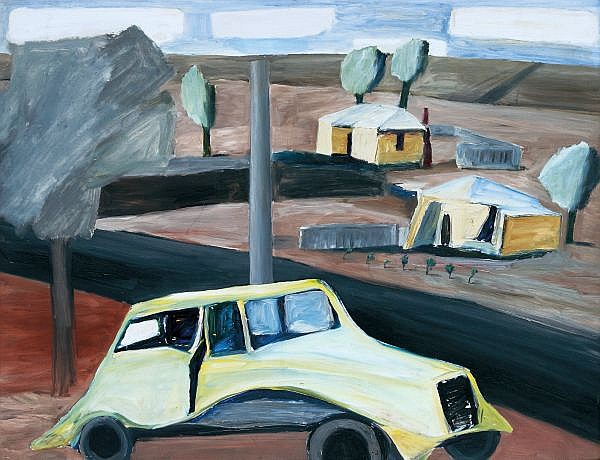 KEN WHISSON , Australian B. 1927 EARTH, HOUSES AND VEHICLE Oil on composition board