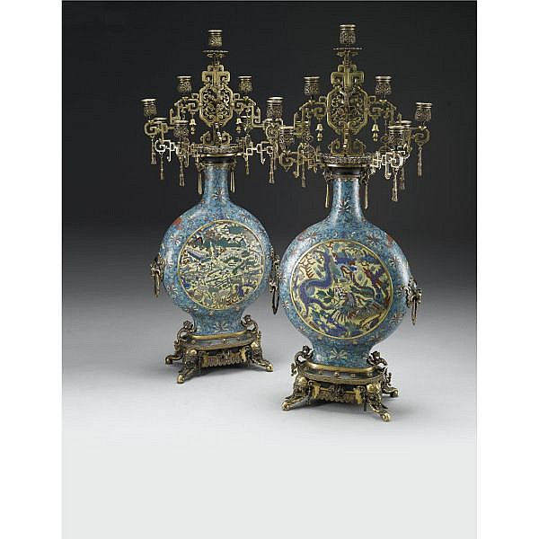 Édouard Lievre 1829-1886 A PAIR OF GILT-BRONZE AND CLOISONNÉ ENAMEL NINE LIGHT CANDELABRAS PARIS, CIRCA 1875, MANUFACTURED BY FERDINAND BARBEDIENNE Bronze