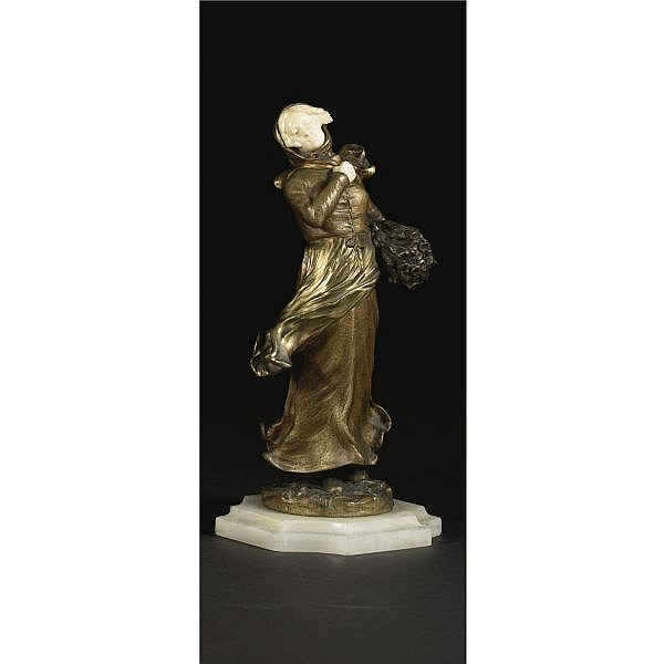 Dominique Alonzo early 20th Century A GILT AND PATINATED BRONZE AND IVORY FIGURE OF A PEASANT GIRL FRENCH, CIRCA 1900 Bronze, Ivory