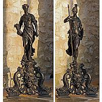 PAIRE DE CHENETS DE LA GUERRE ET DE LA PAIX VENISE, DE STYLERENAISSANCE, D'APRÈS LE MODÈLE D'ALESSANDRO VITTORIA (1525-1608)